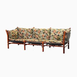 3-Seater IIona Sofa in Autumn Dessin Fabric and Solid Wood by Arne Norell for Aneby Mobler, 1960s