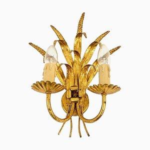 Wandlampe aus vergoldetem Metall & Weizenmuster, Frankreich, 1970er