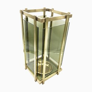 Brass and Green Glass Umbrella Stand, 1970s
