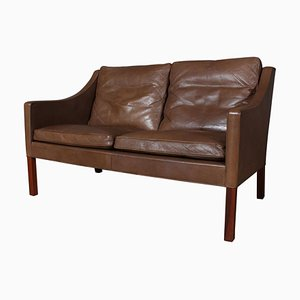 Model 2208 Brown Leather Sofa by Børge Mogensen