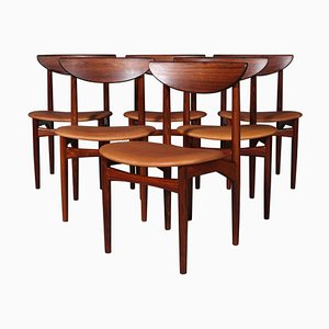 Rosewood and Cognac Aniline Leather Dining Chairs by Kurt Østervig, Set of 6