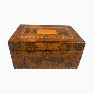 Biedermeier Walnut Veneer Casket Box with Inlays