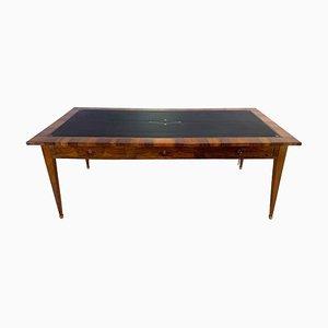 Empire Bureau Plat Partner Desk with Six Drawers in Walnut, France, 1810