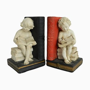 Girl and Boy Bookends, 1920s, Set of 2