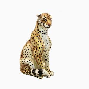 Italian Handmade Life Size Ceramic Cheetah Sculpture, 1980s