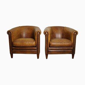 Vintage holländische Cognac Leder Club Stühle, 2er Set