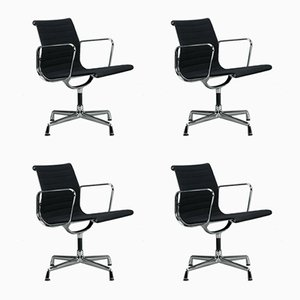 Black & Aluminum EA 108 Swivel Chairs by Charles & Ray Eames for Vitra, Set of 4
