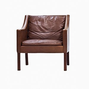 Brown Leather Armchair by Børge Mogensen for Fredericia, 1960s