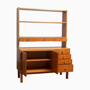 Teak Veneer and Brass Bookshelves Cabinet with Writing Space, Sweden, 1950s