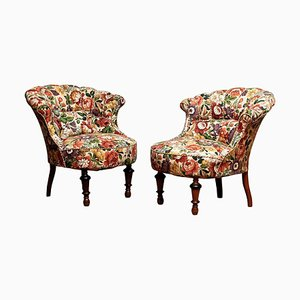 19th Century French Floral Napoleon Slipper Chairs, Set of 2