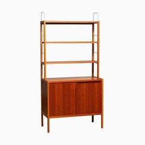 Teak, Oak and Brass Bookcase by Bertil Gottfrid Hagen for Bodafors, Sweden, 1960s