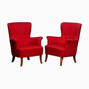 Lounge Chairs by Carl Malmsten for Oh Sjogren, 1940s, Set of 2