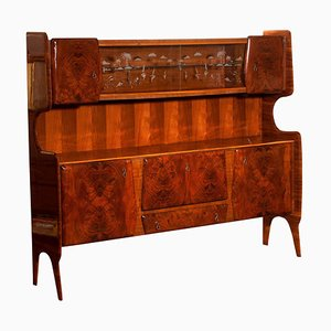 Buffet Cabinet in Burl Wood and Walnut by Vittorio Dassi, Italy, 1950s