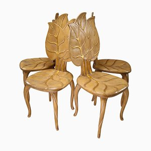 Wooden and Gold Leaf Dining Chairs from Bartolozzi & Maioli, Italy, 1970s, Set of 4