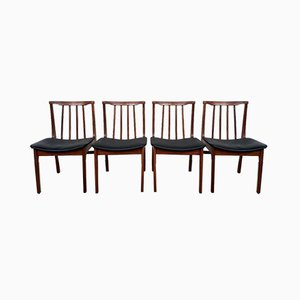 Mid Century Portwood Leather Dining Chairs, Set of 4