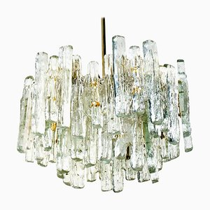 Large Three-Tiered Ice Glass Chandelier from Kalmar