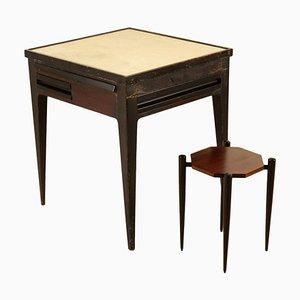Tavolo con cassetti e sgabello, anni '50, set di 2