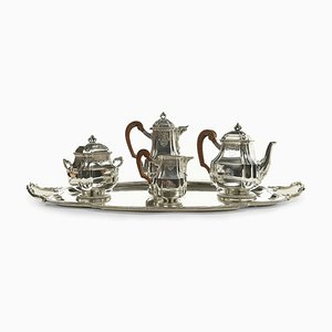 Coffee / Tea Service in Sterling Silver by Henri Gauthier, Set of 5