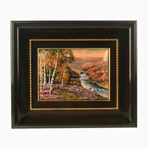 P. Bonnet, Landscape, Signed Metal Framed Painting