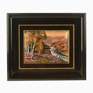 P. Bonnet, Landschaft, Signierte Malerei mit Metallrahmen