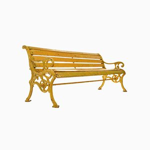 Wooden Bench in Cast Yellow Patina