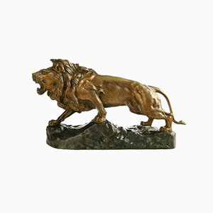 J.B Descomps, Lion Roaring on His Rock, Bronze