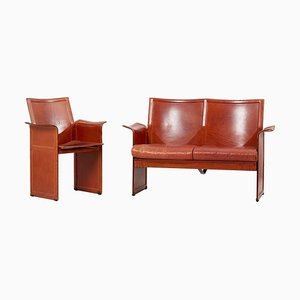 Loveseat and Chair in Dark Cognac Leather by Tito Agnoli for Matteo Grasse, Italy, Set of 2