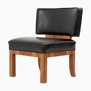 Large Art Deco Lounge Chair in Walnut and Leather, 1930s, France