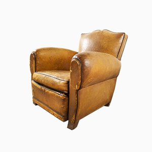 French Single Leather Club Armchair, 1940s