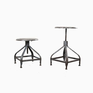 Low Industrial Swivel Stools from Nicolle, 1940s, Set of 2