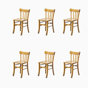 French Bentwood Dining Chairs Model 3 from Luterma, 1950s, Set of 6