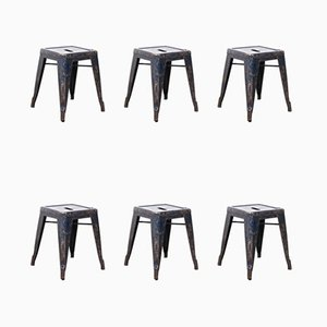 French H Metal Cafe Dining Stools in Blue from Tolix, 1950s, Set of 6