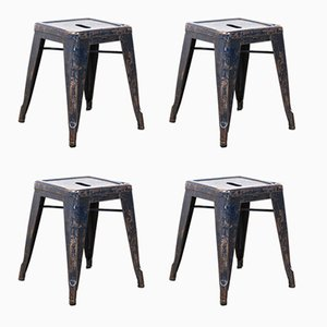 French H Metal Cafe Dining Stools in Blue from Tolix, 1950s, Set of 4