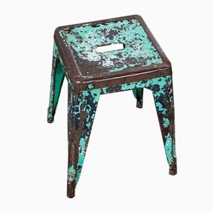 French H Metal Cafe Dining Stool in Turquoise from Tolix, 1950s