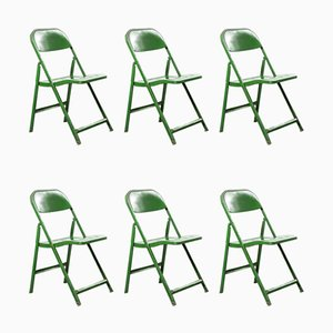 French Green Metal Folding Chairs, 1960s, Set of 14