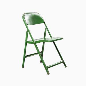 Sillas plegables francesas de metal verde, años 60.Juego de 8