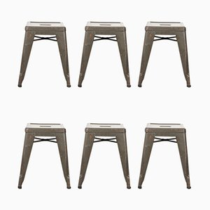 French H Metal Cafe Dining Stools in Khaki from Tolix, 1950s, Set of 6
