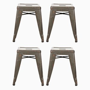 French H Metal Cafe Dining Stools in Khaki from Tolix, 1950s, Set of 4
