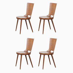 French Bentwood Dove Dining Chairs from Baumann, 1960s, Set of 4