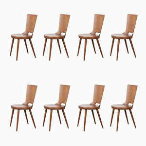 French Bentwood Dove Dining Chairs from Baumann, 1960s, Set of 8
