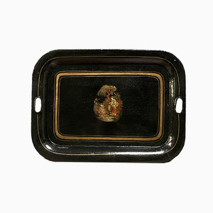 Black and Gold Ornate Metal Tray