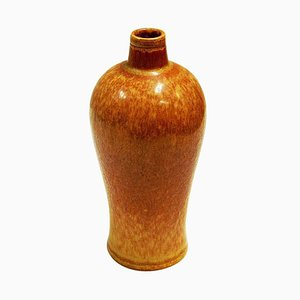 Vintage Goldenbrown Ceramic Vase by Gunnar Nylund for Rörstrand, Sweden, 1950s