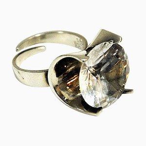 Anello vintage in argento con pietra tagliata in cristallo di rocca di Matti J Hyvärinen, Finlandia, anni '70