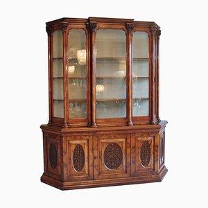 Antique Victorian Burr Walnut Carved Display Cabinet