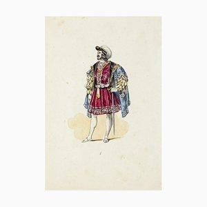 Theaterkostüm, Originale Lithographie, Frühes 20. Jahrhundert