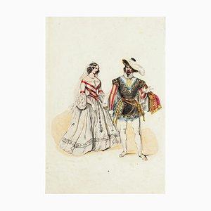 Inconnu, costume de mariage, lithographie originale, milieu du 19e siècle