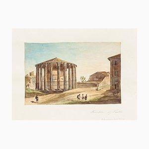 Unknown, Temple of Vesta, Original Hand Watercolor Etching, 19th Century