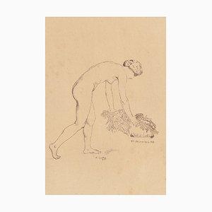 Arthur Edouard Guillez, Nude Woman, Original Etching, 1913
