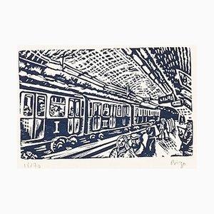 Sergio Birga, la stazione della metropolitana di Paris, Original Woodcut, 1994