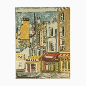 Orfeo Tamburi, Paris, Houses and Walls, Original Lithograph, 1980s